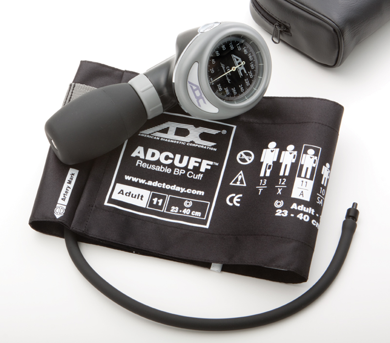 An ADC 703 palm aneroid sphygmomanometer unit.