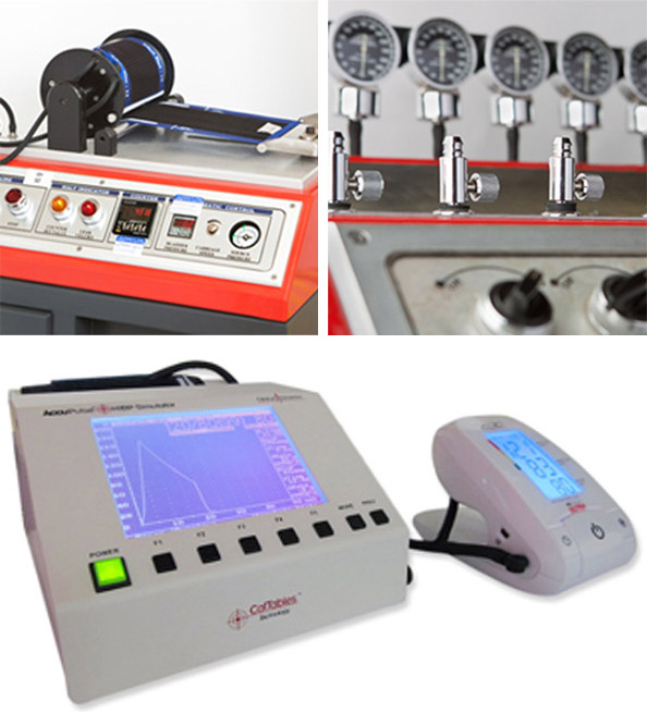Some of our proprietary test equipment, including the cuff endurance tester, the valve leak tester and the NIBP simulator.